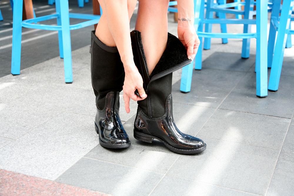 Canterbury Sabina Patent Black & Red-Nappa Sheepskin Rain Boots
